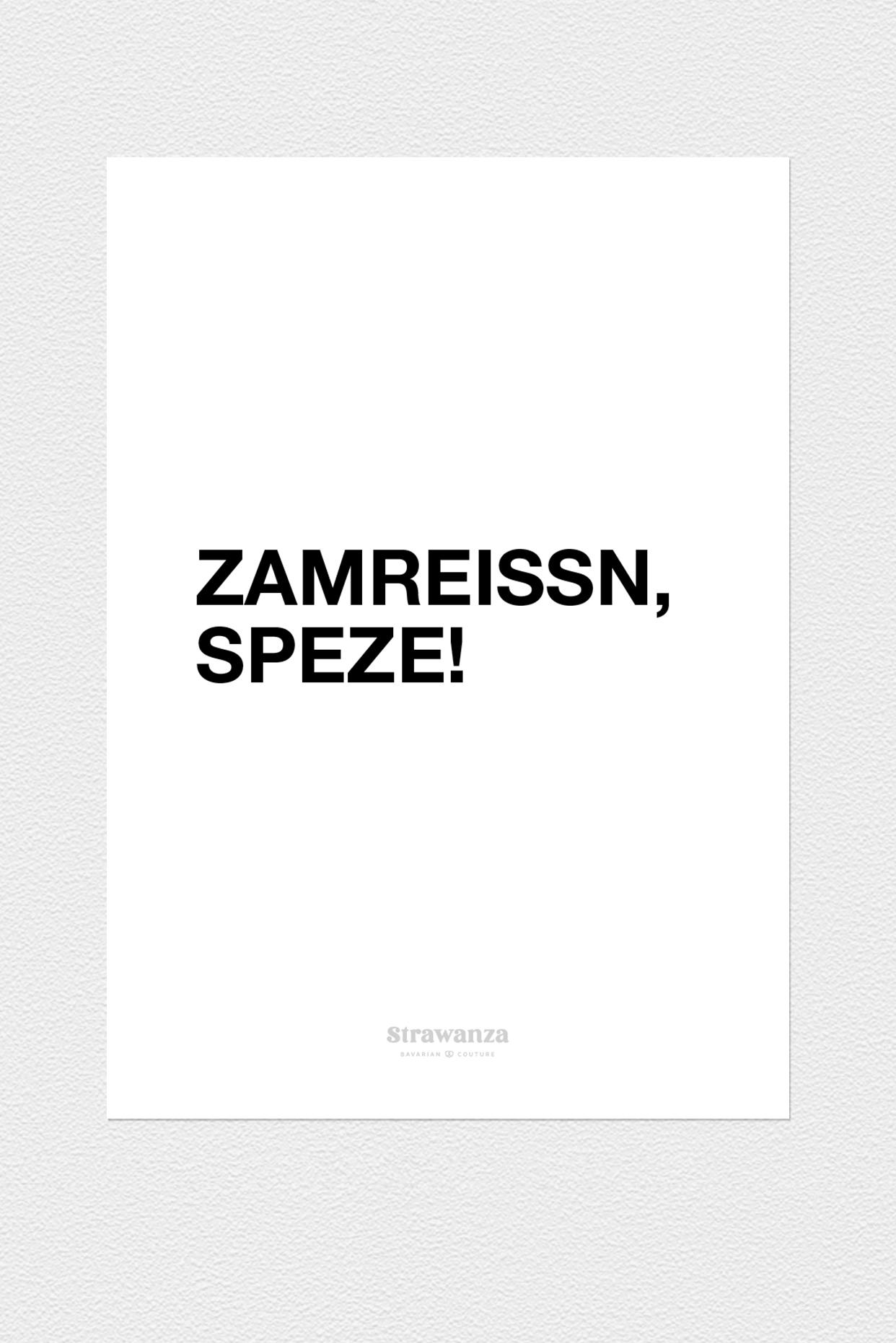 Zamreissn Speze Poster - A3